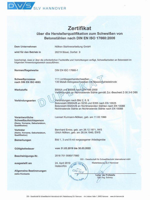 Zertifikat_Betonstahlschweissen_DIN_EN_ISO_17660_Noelken Stahlverarbeitung GmbH